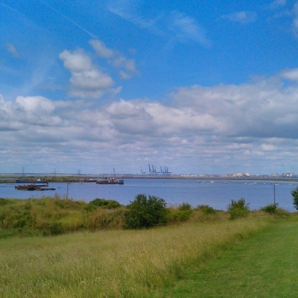 Looking out over Loading Hope Reach toward Queenborough, sheerness and the Isle of Grain