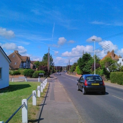 Blue skies heading out of Minster, Sheppey's highest point