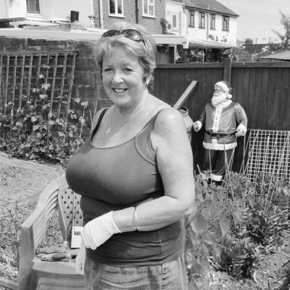 Jean, tending in her friend's garden